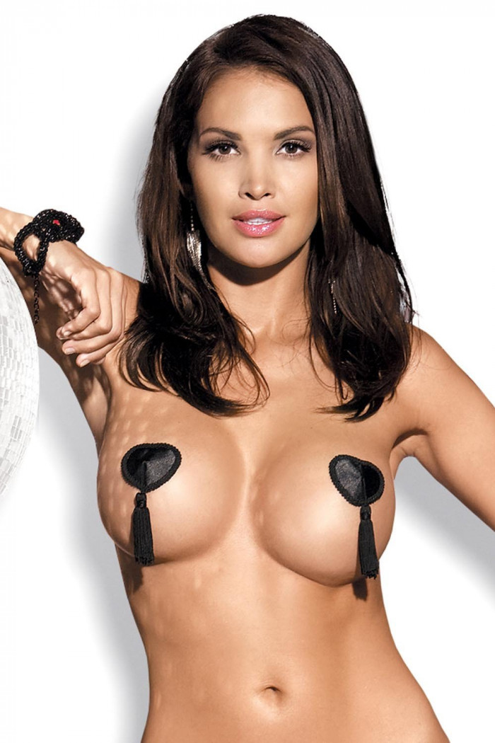 Накладки на груди чорні Obsessive Tassel