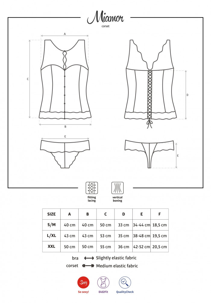Корсет закрытый Obsessive Miamor corset