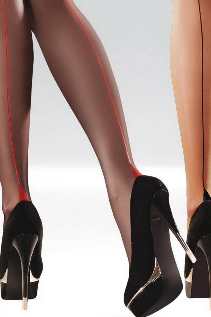 Колготки черные с красным швом Gabriella Bella 20 den