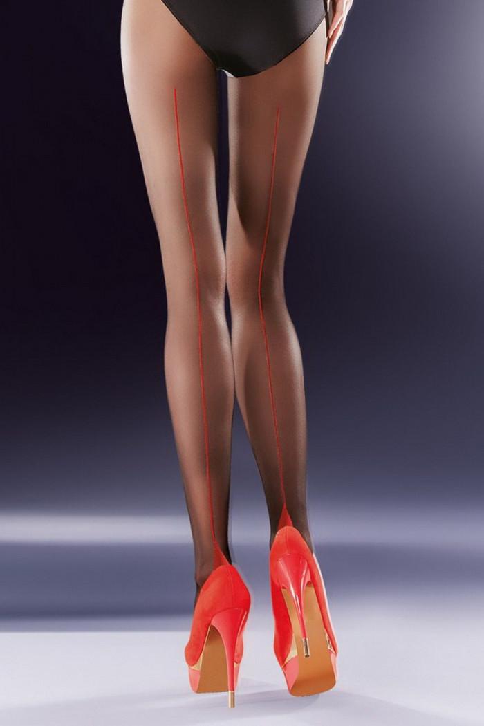 Фото Колготки черные с красным швом Gabriella Bella 20 den