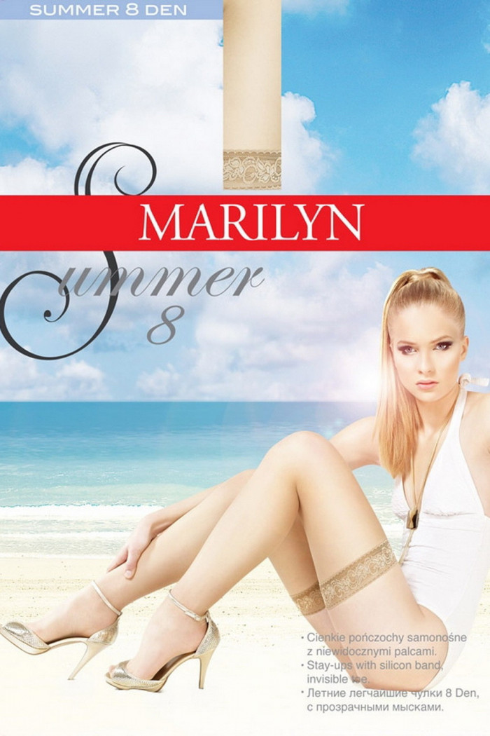 Чулки с тонкой коронкой Marilyn Summer 8 den
