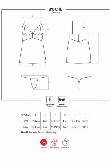Сорочка облегающая Obsessive 810-CHE-1 chemise
