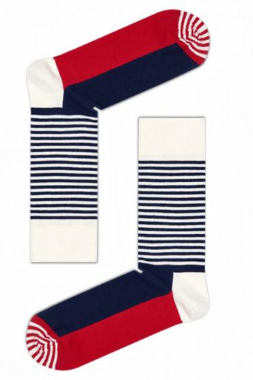 Носки хлопковые с принтом Happy Socks HALF STRIPE SOCK