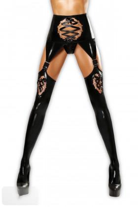 Чулки с поясом латексные Lolitta Horny Stockings