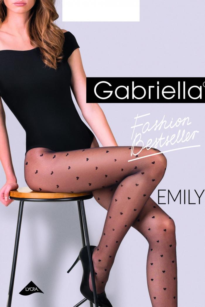 """Колготки з візерунком \\ """"сердечка \\"""" Gabriella Emily 20 den"""