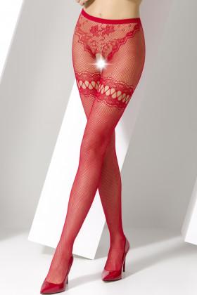 Фото Колготки эротические с вырезом Passion S015 красные