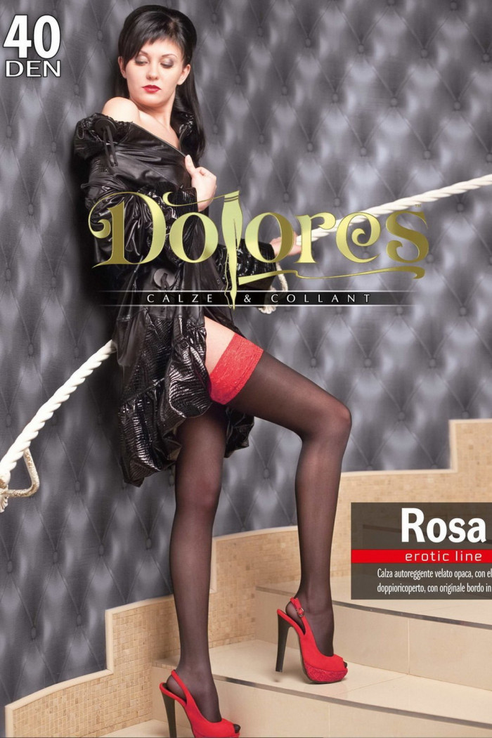 Фото Чулки с красным кружевом Dolores Rosa 40 den