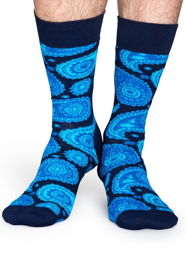 Фото Носки хлопковые с принтом Happy Socks Paisley Blue