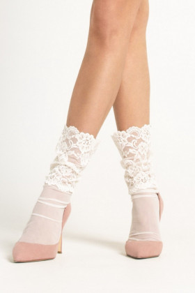 Носки тюль с декором LEGS L1431 TULLE PIZZO FLORI