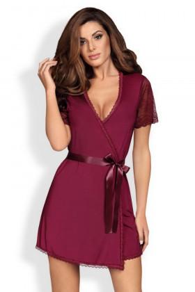 Фото Халат с кружевом бордовый Obsessive Miamor robe