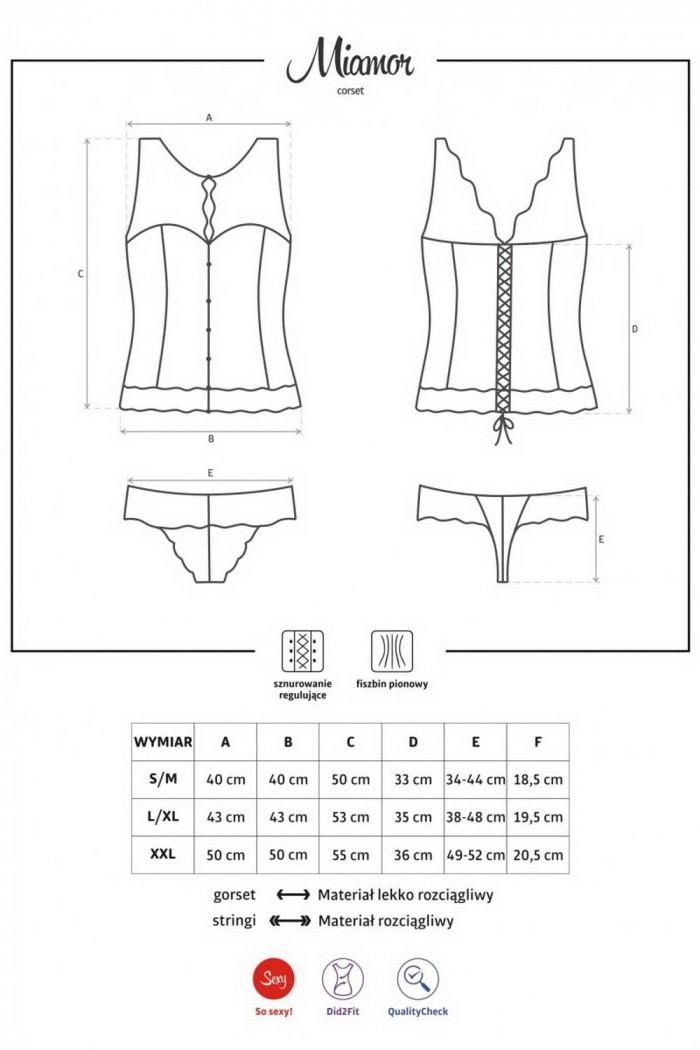 Корсет со шнуровкой Obsessive Miamor corset