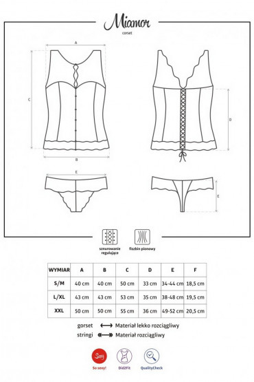 Фото Корсет со шнуровкой Obsessive Miamor corset