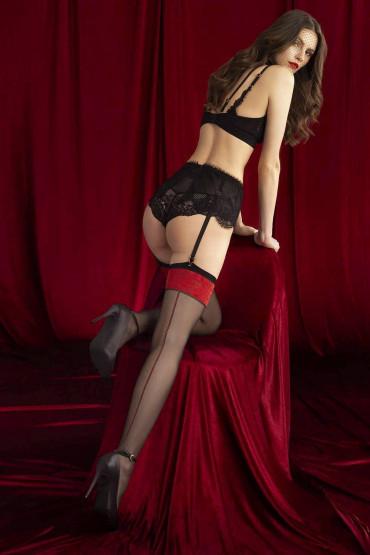 Фото Чулки под пояс с узором Fiore Scarlet 20d