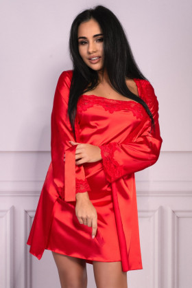 Комплект атласный (халат, сорочка и стринги) Livia Corsetti Jacqueline Red