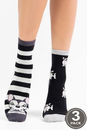 Фото Носки хлопковые с принтом Котики Legs 71 SOCKS 71 (3 пары)