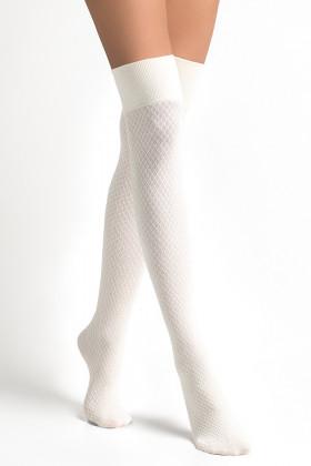 Высокие гольфы-заколенки молочные LEGS L1520 PARIGINA ROMBI COTONE