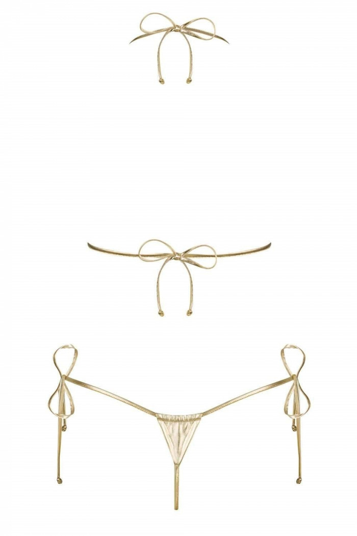 Купальник микро-бикини на завязках золотой Obsessive Bella Vista
