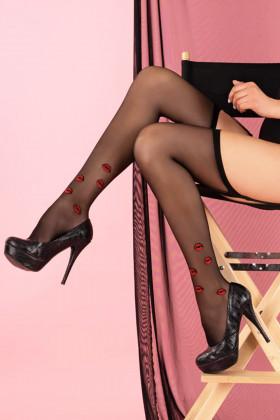 Панчохи під пояс з оригінальним принтом Livia Corsetti Crimson Lipstick