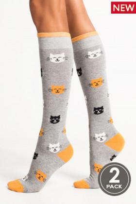 Гольфы хлопковые с принтом Кошки Legs 75 KNEE HIGH 75 (2пары)