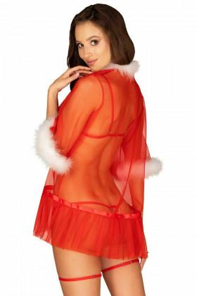 Пеньюар новорічний напівпрозорий Obsessive Santasia Peignoir
