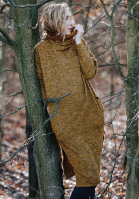 Теплое платье-туника с карманами Key LHD 202 B20