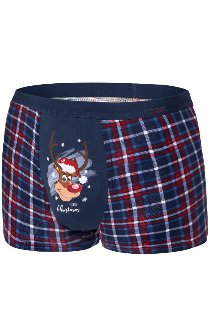 Труси чоловічі новорічні в клітку Cornette 007/57 Reindeer