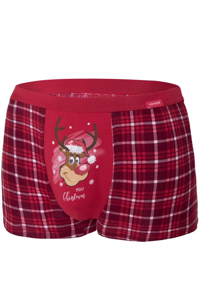 Трусы мужские новогодние в клетку Cornette 007/58 Reindeer 2
