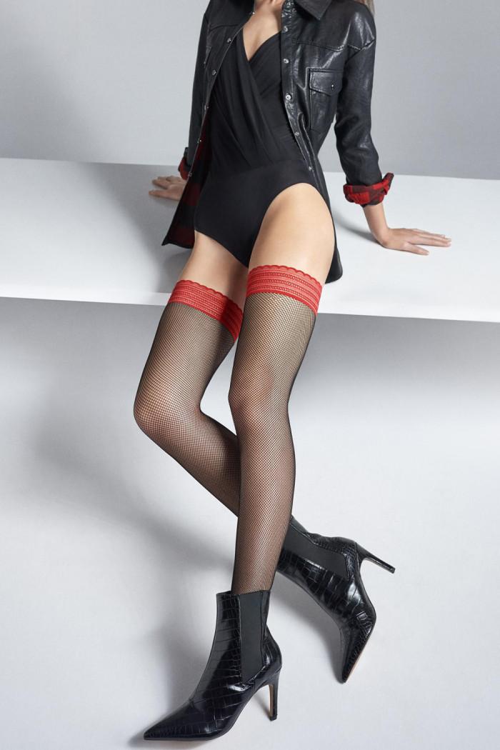Панчохи в сітку з червоною коронкою Marilyn Coco S03