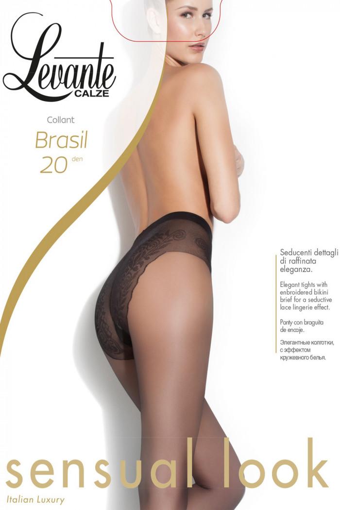 Прозрачные колготки с ажурными трусиками Levante Brasil 20 den
