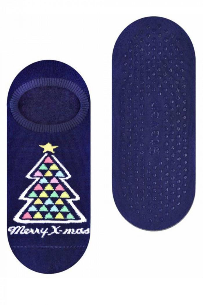 Носки-следы махровые с новогодним принтом и ABS Steven art.132 New Year