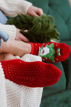Новогодние махровые носки-следы ABS Steven art.132 New Year