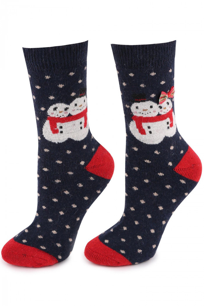 Носки теплые новогодние с шерстью Marilyn Angora TERRY R35 Navy