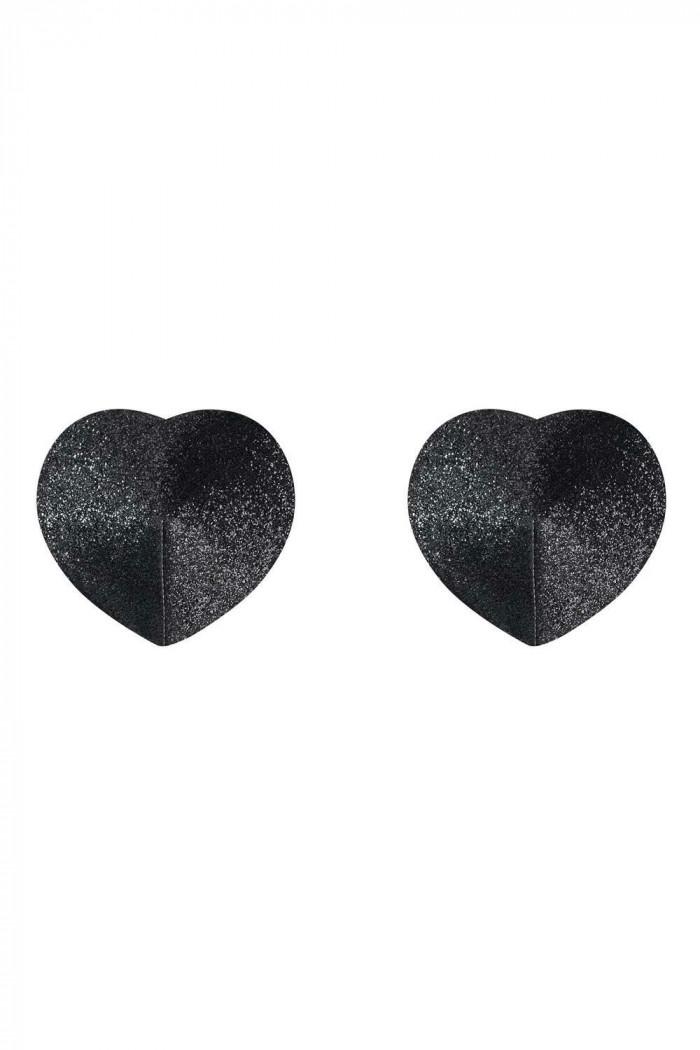 Блискучі накладки-сердечка на груди Obsessive A751