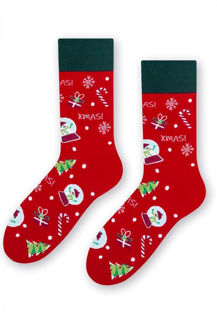 Шкарпетки чоловічі з новорічним принтом STEVEN art.136 Gift Red