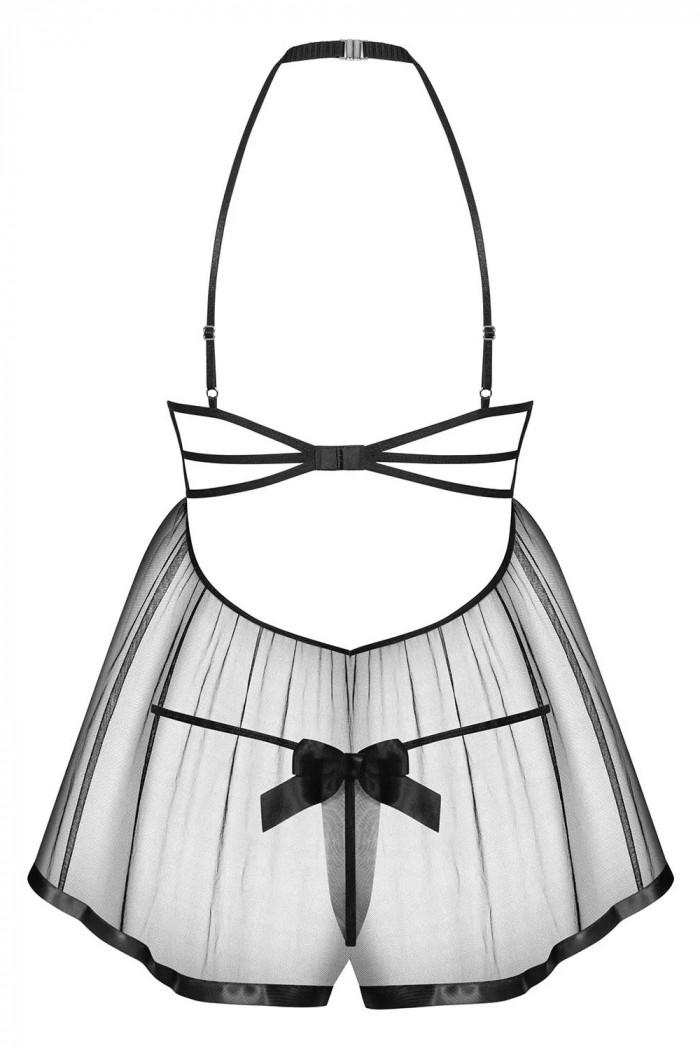Прозрачный бебидолл с открытой грудью Obsessive Delishya Babydoll Black