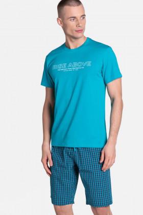 Бавовняний чоловічий комплект з шортами в клітку Henderson 38883 DOJO