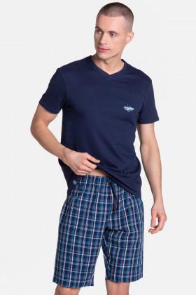 Бавовняний чоловічий комплект з шортами в клітку Henderson 38884 Dream