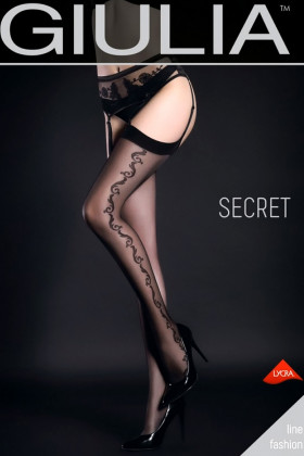 Чулки под пояс с узором GIULIA Secret model 4 (20 den)