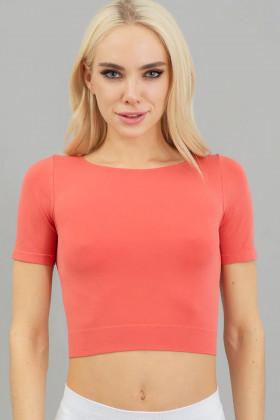Топ з короткими рукавами Giulia Crop T-Shirt Burnt coral