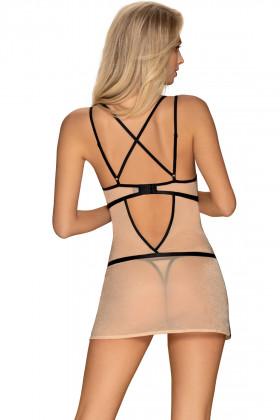 Сорочка прозрачная с черными полосками Obsessive Nudelia chemise