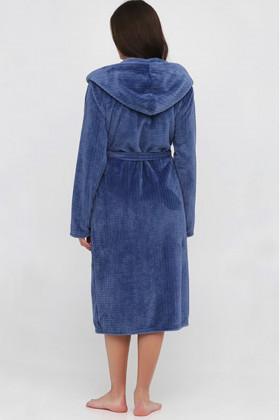 Теплий жіночий халат велсофта Naviale 100051 Check blue