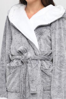 Теплий жіночий халат з капюшоном Naviale 100055 CAT