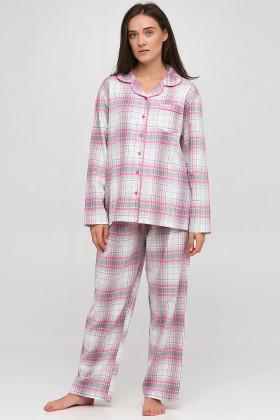 Пижама хлопковая в клетку Naviale LS.04.001 Dreams Pink check