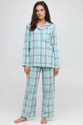 Пижама хлопковая в клетку Naviale LS.04.001 Dreams Aqua