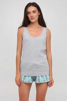 Пижама хлопковая с шортами в клетку Naviale LS.05.001 DREAMS Aqua