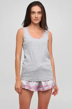 Пижама хлопковая с шортами в клетку Naviale LS.05.001 DREAMS Pink Check
