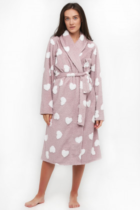 Теплий жіночий халат з серцями Naviale 100069 HEARTS
