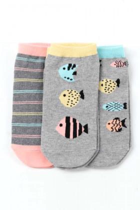 Носки женские с принтом LEGS 104 SOCKS LOW 104 (3 пары)