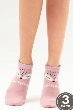 Носки женские с принтом LEGS 105 SOCKS LOW 105 (3 пары)