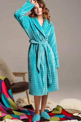 Теплий жіночий халат велсофта Naviale 100047 WAVES Aqua